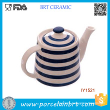 Wholesale with Navy Stripe White Ceramic Coffee Pot
